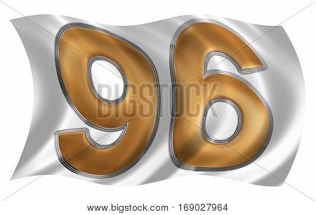 In The Wind Fluttering The Flag With Numeral 96, Ninety Six, Isolated On White Background, 3D Render