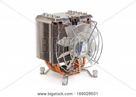 Active CPU cooler with large finned heatsink fan copper heat pipes and thermal pad on a light background