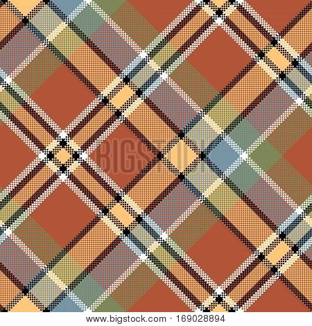 Brown beige diagonal fabric texture pixeled seamless pattern. Vector illustration.