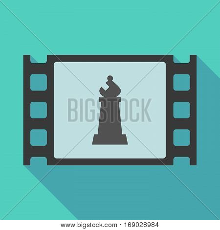 Long Shadow Film Frame With A Bishop    Chess Figure