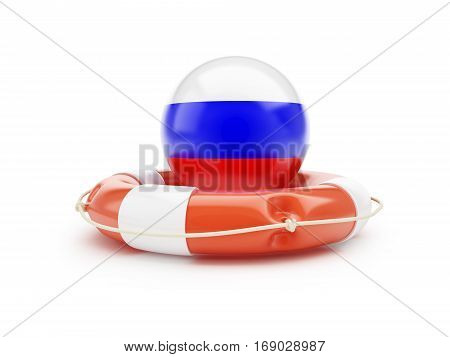 Lifebuoy Help Flag of Russia on a white background 3D illustration