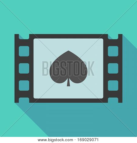 Long Shadow Film Frame With  The  Spade  Poker Playing Card Sign