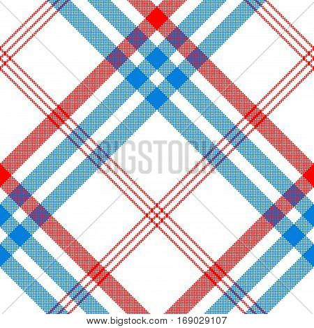 Check white textile with red and blue stripes seamless pattern. Vector illustration.