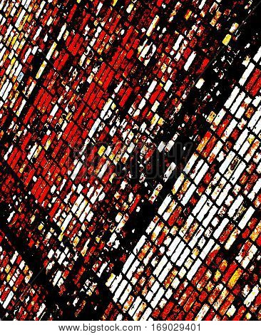 Abstract image of a brick wall. Red black abstract background.  Red, black, white. Red, black, white grunge. Dark grunge. Brick wall. Abstract art. Abstract artwork. Art. Grunge brick.