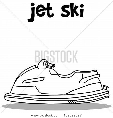 Jet ski transport hand draw vector illustration