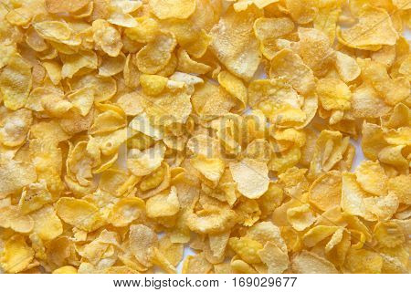 Cornflakes close up , Cereals Breakfast .