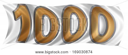 In The Wind Fluttering The Flag With Numeral 1000, One Thousand, Isolated On White Background, 3D Re
