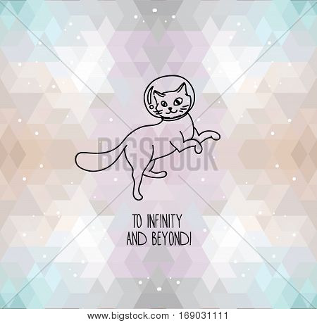 cute doodle cat-astronauts floating on geometrical background, futuristic style, set of vector illustration
