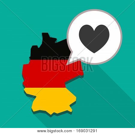 Map Of Germany With  The Heart Poker Playing Card Sign
