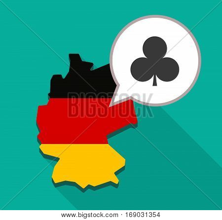 Map Of Germany With  The  Club  Poker Playing Card Sign