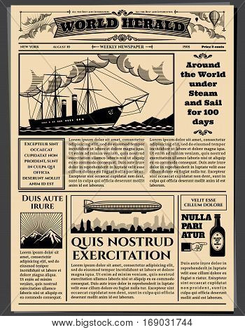 Retro business newspaper, old dirty sheets newsprint vector mockup. Retro newspaperwith news, illustration of top news tabloid