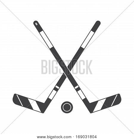 Crossed hockey sticks and puck vector illustration. Winter sports ice-hockey outline icon.