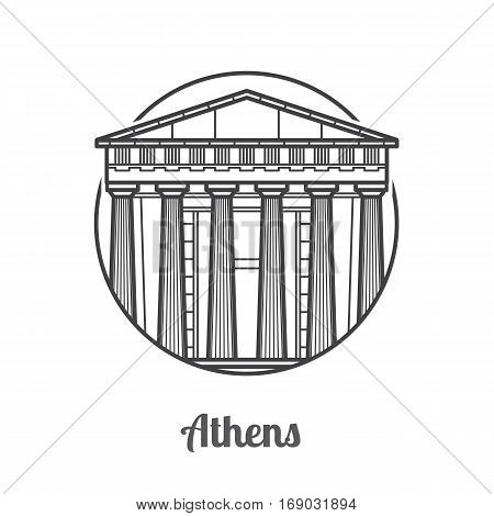 Travel Athens icon. Parthenon is one of the famous landmarks and tourist attractions in capital of Greece. Thin line ancient column temple icon in circle.