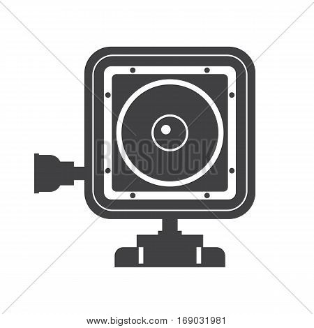 Action camera vector icon. Extreme camera illustration in outline design. Motion cam silhouette isolated on white background.