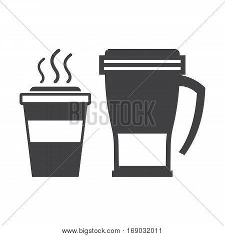 Take away coffee cup and thermos travel mug outline icons.