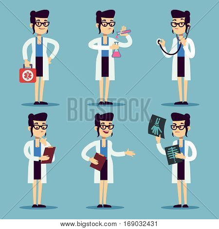 Young doctor female, woman nurse smiling characters in various actions vector set. Doctor in white uniform, illustration of cartoon doctor with x-ray