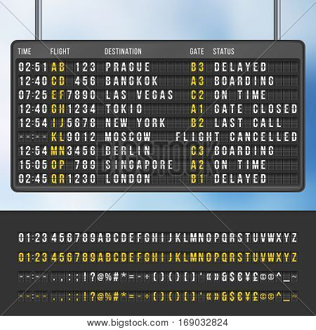 Airport flip arrivals information scoreboard vector mockup. Display with information flight and destination, illustration of info scoreboard poster