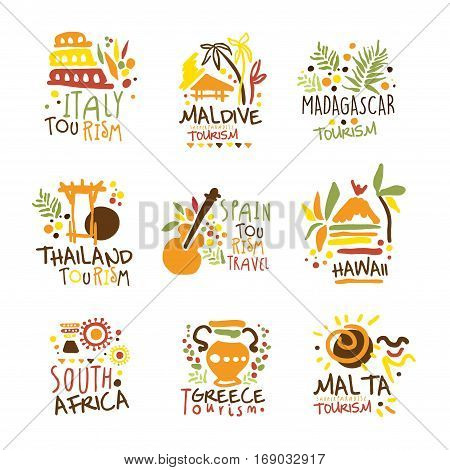 Touristic Travel Agency Set Of Colorful Promo Sign Design Templates With Different Tourism Countries And Their Famous Objects. Bright Color Promotional Vector Labels With Text Series.