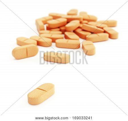 Drug or vitamin pills. Group of orange dietary supplement tablets isolated on white background. 3D illustration