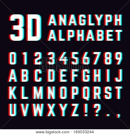 Stereoscopic distortion, 3d anaglyph font alphabet letters. Alphabet distorted digital. Vector illustration