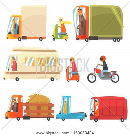 Public And Personal Transport Toy Cars And Trucks Collection Of Childish Colorful Transportation Vehicles. Childish Vector Illustrations With Cute Cars And Bikes With Drivers In Stylized Design.