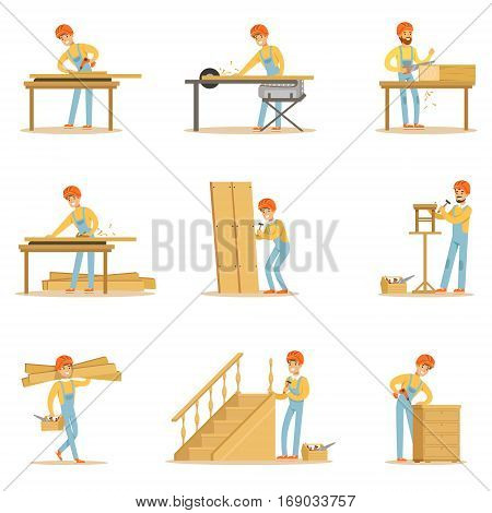 Professional Wood Jointer At Work Crafting Wooden Furniture And Other Construction Elements Vector Illustrations. Cartoon Character Cabinet Maker Set Of Work Situations.
