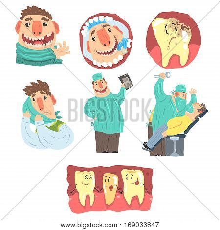Funny Cartoon Dentist And Patient Illustration Set With Dental Care Procedures And Humanized Teeth Characters. Doctor Extracting Bad Tooth From The Mouth Of Patient In Pain.