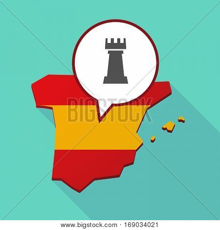 Map Of Spain With A  Rook   Chess Figure