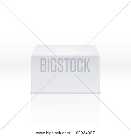 White square pedestal, empty polyhedron, blank 3d box, cube, stage vector illustration. Rectangular geometrical package, block cube for stage or pedestal