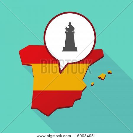 Map Of Spain With A Bishop    Chess Figure