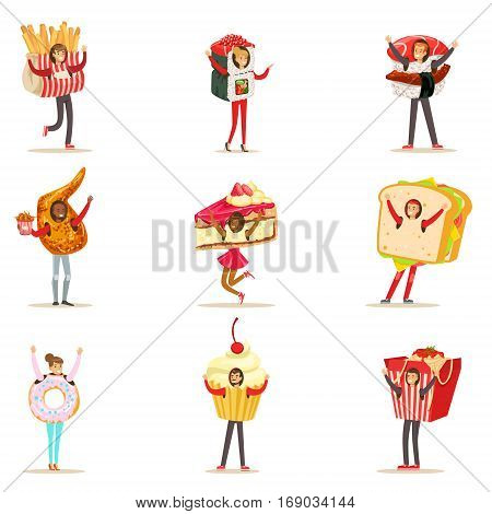 People Wearing Fast Food Snacks Costumes Disguised As Cafe Menu Items Collection Of Cartoon Characters. Junk Food And Take Away Lunch Giant Disguised For Adult People Vector Illustrations.