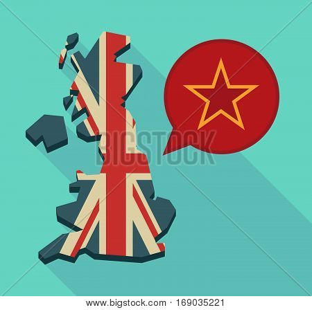 Map Of Uk With  The Red Star Of Communism Icon