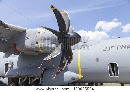 BERLIN / GERMANY - JUNE 3 2016: german Airbus A 400 M propeller engine. The Airbus A400M is a multi-national four-engine turboprop military transport aircraft.