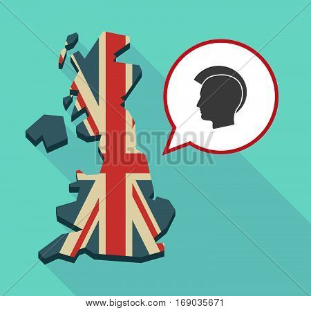 Map Of Uk With  A Male Punk Head Silhouette