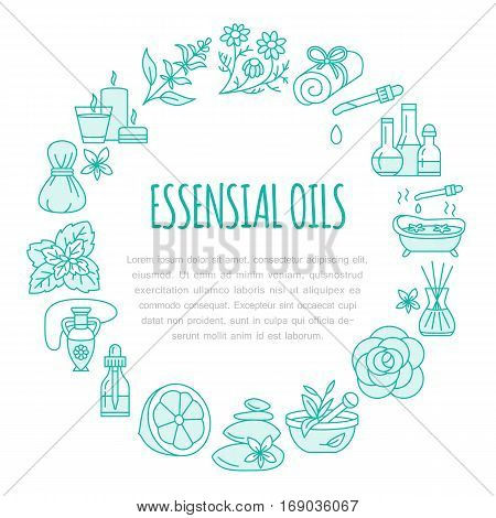Aromatherapy and essential oils brochure template, circle poster. Vector line illustration of aroma therapy diffuser, oil burner, spa candles, incense sticks, herbal bag massage.
