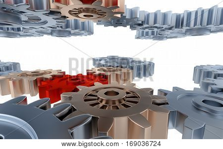 3D illustration of Between Silver Gears and Small Red and Copper Gears with a white background