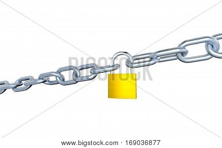 3D illustration of Two Big Metallic Chains Locked with a Padlock with a white background