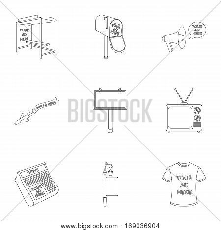 Advertising set icons in outline design. Big collection of advertising vector symbol stock illustration