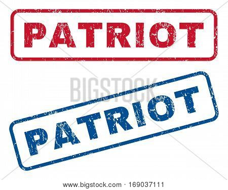 Patriot text rubber seal stamp watermarks. Vector style is blue and red ink tag inside rounded rectangular banner. Grunge design and scratched texture. Blue and red stickers.