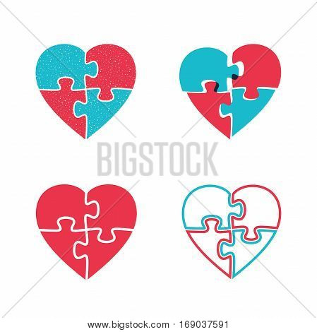 Hearts puzzles icons. Four puzzle icons in the shape of heart.