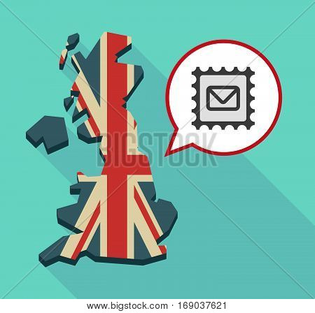 Map Of Uk With  A Mail Stamp Sign