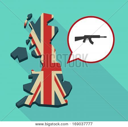 Map Of Uk With  A Machine Gun Sign