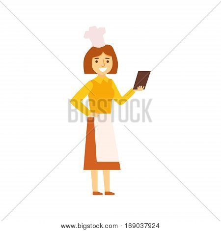 Woman Cook In Apron Looking For Recepy On Smartphone, Person Being Online All The Time Obsessed With Gadget. Modern Technology Devices And Internet Life Impact Simple Vector Illustration.