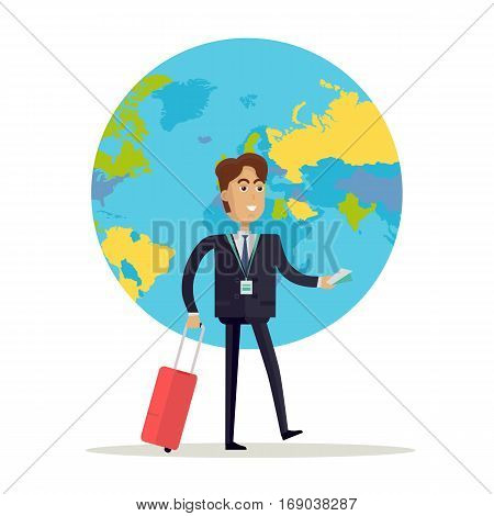 Business man with brown hair and in business suit and tie stands on a background with planet. Smiling business man with red suitcase. Business trip. Flat design vector illustration