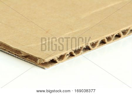 One Ply Corrugated Paper on white background Macro