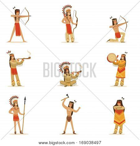 Native American Tribe Members In Traditional Indian Clothing With Weapons And Other Cultural Objects Set Of Cartoon Characters. Vector Illustrations With Classic North America Indians In Simple Colorful Style.