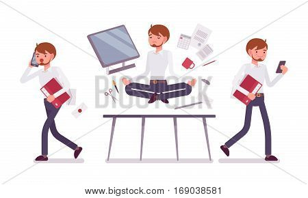 Office scene with male clerk, busy talking on phone and relaxed in yoga lotus pose, levitating over working desk with computer and office supplies, full length, isolated against white background