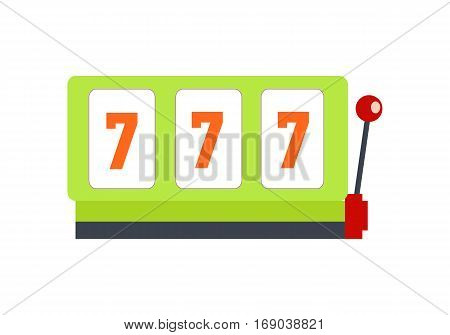 Classic slot machine vector. Flat style design. Gambling attraction with winning combination of sevens. One handle bandit