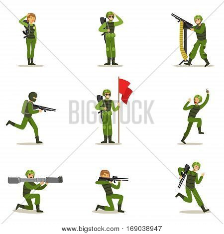 Infantry Soldiers In Full Military Khaki Uniform With Guns During War Operation Collection Of Cartoon Land Forces Cartoon Characters. Vector Illustration With Infantrymen At Their Duty.