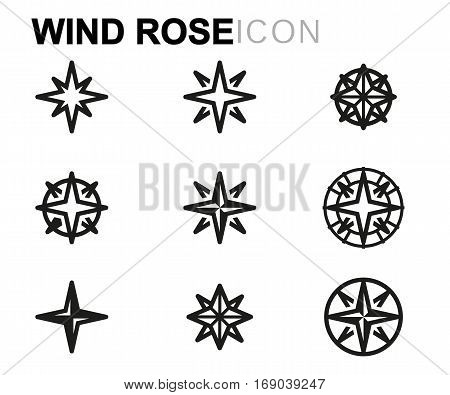 Vector line wind rose icons set on white background